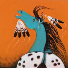 , was born a Sakaw Cree from the Bigstone Cree Nation in northern Alberta, Canada. He was a First Nations artist and educat. Native American Artwork, Native American Symbols, Native American Artifacts, American Indians, First Nations, Aboriginal Art For Kids, Native Canadian, Blue Horse, Painted Pony