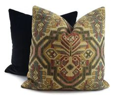 Black, Brown, Red, Tan, Beige & Teal Woven Medallion Throw Pillow Cover, 18x18, 20x20, 22x22, 24x24, Moroccan Throw Pillow Cover