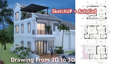 This villa is modeling by SAM-ARCHITECT With 3 stories level. Tiny House Meter House description: Ground Level: -Living room -Dining room -Kitchen -and 1 Restroom First Level: bedroom with balcony bathroom Second Level: bedroom with balcon Modern Small House Design, Small House Exteriors, Simple House Design, Tiny House Design, Dream Home Design, Narrow House Plans, Open Floor House Plans, My House Plans, Autocad