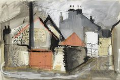 ✽ john piper - 'inn scene, cerne abbas' - mixed media - bonhams