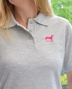 Here's our beautiful Pink Dachshund embroidery design on the Ladies Polo Shirt in Grey Polo Shirt Women, T Shirts For Women, Polo Shirt Embroidery, Deer Design, Dachshund, Embroidery Designs, Beautiful Women, Women's Fashion, Colour