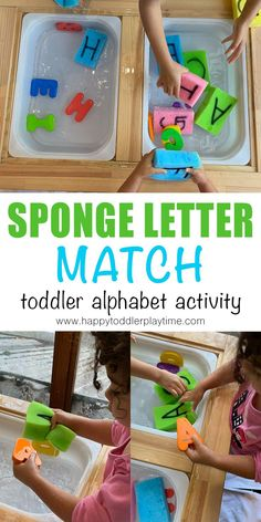 Sponge letter match is a fun way to practice the alphabet with your toddler or preschooler. It also make a super fun sensory and fine motor activity! Number Games Preschool, Alphabet Activities, Language Activities, Toddler Preschool, Toddler Activities, Toddler Games, Toddler Classroom, Alphabet Crafts, Preschool Class