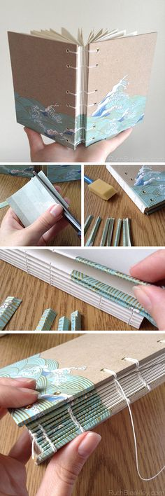 Handmade Journal with Waves cut out of Japanese Chiyogami paper by bookbinder Ruth Bleakley (CE)