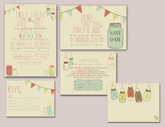 Print at home custom designed mason jar and bunting invite suite. $50 on etsy