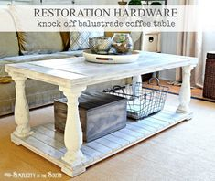 Restoration Hardware knock off balustrade coffee table made from salvaged balusters, pine boards and fence planks.