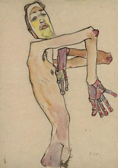 Egon Schiele, Erwin Dominik Osen, Nude with Crossed Arms, 19