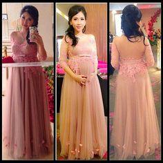 Moda Custom made Rosa manga Comprida lace vestido de Baile 2017 vestidos Longos de Baile vestido de festa longo com pedraria