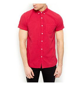 Pink Pocket Front Short Sleeve Oxford Shirt  | New Look