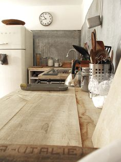 Rejuvenation Kitchen Inspiration: kitchen made with recycled rough wood