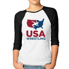 Fashion Womens Top Team USA Wrestling Rio 2016 Olympic Plain Raglan T Shirt 3/4 Sleeve -- Awesome products selected by Anna Churchill
