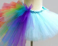Falda de tutú arcoiris adultos con el bullicio de la cola, Dash, unicornio, caballo, mlp, cosplay, traje de la mujer, fiesta, mujeres, damas