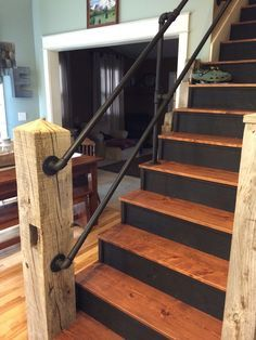 For Basement Railing? Reclaimed Barn Timber Used As Newel Post W Galvanized  Pipe Handrail Painted Black.