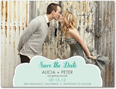 Save the Date Postcards Cloud Frame - Front : Aloe