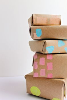 DIY potato stamped wrapping paper