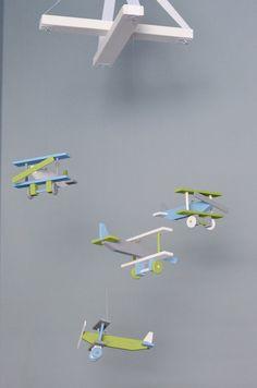 Airplane Baby Mobile Biplane Nursery Decor -  Gray Baby Blue White Lime Green