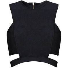 Posh Girl Black Cut Out Bandage Crop Top (2.490 UYU) ❤ liked on Polyvore featuring tops, crop top, shirts, crop, bandage crop top, zipper back shirt, cut out shirts, posh girl and cutout tops