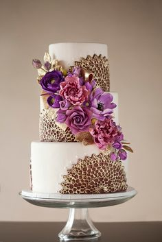 purple sugar flower cake
