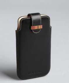 Paul Smith : black leather tab over iphone case : style # 324860001