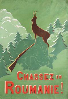 """Afiș de propagandă """"Chassez en Roumanie"""", ilustrator E. Oprișescu, anii '50"""