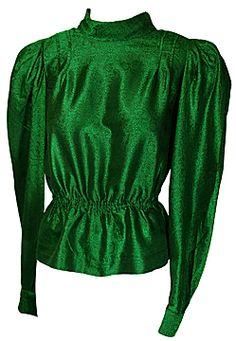 SOLD 80s Shimmering Green Blouse with Padded Shoulders(UK12-14) SOLD £-15.00 - 1980s clothing -separates & jackets - from Martha's Closet