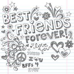Melhores amigos para sempre bff volta para escola esboçada doodles vector — Ilustração de Stock #11800091