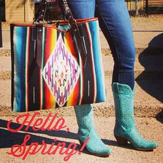 Hello, Spring! Turquoise + Cream Corral Boots and a Totem Salvaged Vintage Serape Bag! Find it at Maverick Western Wear.