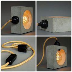 "eyes have it Concrete lamp? The small table lamp / bedside lamp ""nomad"" is individually made by hand from special concrete. It combines the charm of rough concrete wit"