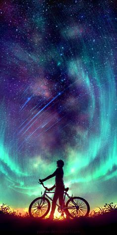 Said the Stars by Wenqing Yan [Yuumei art] Exposure Photography, Art Photography, Night Photography, Landscape Photography, Yuumei Art, Wow Art, Anime Scenery, Galaxy Wallpaper, Wallpaper Backgrounds