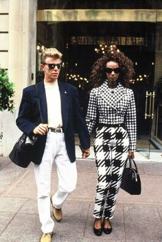 80s-90s-supermodels:  Iman and David Bowie, 1991