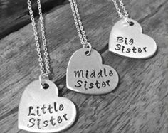 SALE! Sister Necklace, Matching Little Sister Middle Sister and Big Sister Necklace Set Of 3, Gift For Big Sis Middle Sis Little Sis
