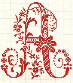 Large fancy alphabet letter a Cross Stitch Letters, Cute Cross Stitch, Cross Stitch Charts, Cross Stitching, Cross Stitch Embroidery, Embroidery Patterns, Stitch Patterns, Family Ornament, Swedish Weaving