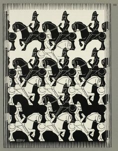 M. C. Escher, Regular Division of the Plane III, 1957–1958, woodcut in black on wove paper, 34.1 × 25.4 cm; image, 24.1 × 18 cm, National Gallery of Canada, Gift of George Escher, Mahone Bay, Nova Scotia, 1987.