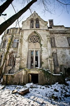 The medieval residence of the Chateau Clochard in the small commune of Pont-Remy in Picardie, Northern France - now in ruins.