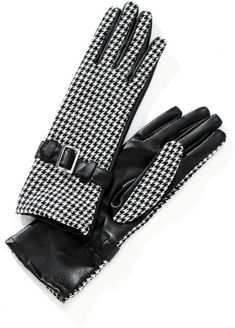 Stylish black and white houndstooth woven print gloves have black pleather on the palms. The gloves sport a silver-colored buckle and black pleather band at the wrist. Winter Accessories, Handbag Accessories, Boot Cuffs, Leather Gloves, Mitten Gloves, Winter Wear, Houndstooth, Lady, Stylish