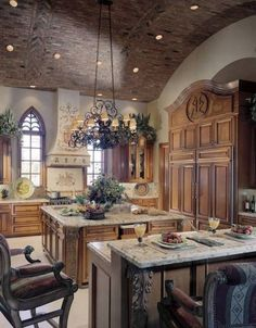 tuscan architecture   ... Tuscan Kitchen Style With Marble Countertop   Kitchen Design Ideas and