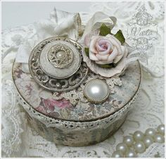 Shabby Chic Inspired    trinket box with soldered art    made from empty sticky tape roll