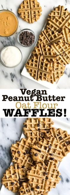 Vegan Peanut Butter Waffles! Made with oat flour and healthy ingredients for a delicious chocolate chip waffle recipe. Low in sugar and gluten free!