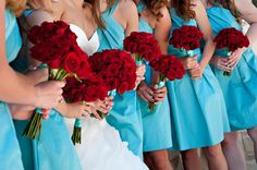 red and aqua wedding -- aqua dresses and red flowers and shoes!