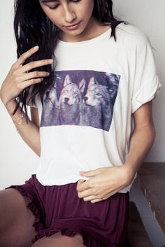 Brandy ♥ Melville | Caleigh 3D Wolves Top - Graphics