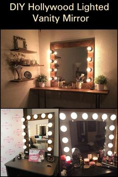 These DIY Hollywood lighted vanity mirrors will make you feel like a real-life celebrity! These DIY Hollywood lighted vanity mirrors will make you feel like a real-life celebrity! Cheap Vanity Mirror, Diy Makeup Mirror, Vanity Mirrors, Dyi Vanity, Dresser Vanity, Ikea Mirror Lights, Diy Vanity Mirror With Lights, Mirror Ideas, Hollywood Lighted Vanity Mirror
