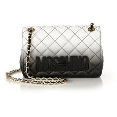 Moschino Small Degrade Quilted Leather Shoulder Bag ($1,475) ❤ liked on Polyvore featuring bags, handbags, shoulder bags, apparel & accessories, white black ombre, shoulder bag handbag, chain strap purse, quilted leather handbags, woven handbag and moschino handbag