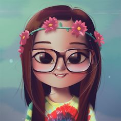 Flowers Girl Drawing Illustration Ideas For 2019 Cartoon Kunst, Cartoon Art, 3d Drawings, Cartoon Drawings, Girl Drawings, Cute Cartoon Girl, Cute Girl Drawing, Digital Art Girl, Illustration Girl