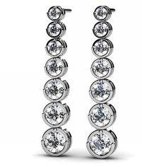 1.54ct Bezel-Set Diamond Journey Drop Earrings 18k by JewelryPoint
