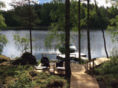 Midsummer Lake Dock, Lake Cabins, Lake Cottage, Cozy Cabin, Lake Life, Finland, Outdoor Spaces, Beach House, Exterior
