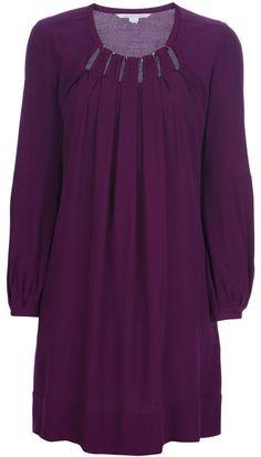 $434, Dark Purple Party Dress: Diane von Furstenberg Beres Dress. Sold by farfetch.com. Click for more info: https://lookastic.com/women/shop_items/58683/redirect