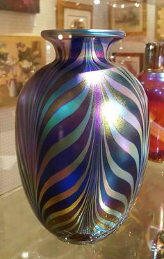 """Fenton Studio Art Glass Vase """"Favrene Pulled Feather"""" LE Connoisseur Collection, Limited Edition, Handcrafted by Dave Fetty, VetterleinArt by VetterleinArt on Etsy"""