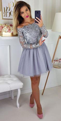 Szara tiulowa sukienka z długim rękawem Sophia  Grey tulle dress with long sleeve  #fashion #promdress #style #graydress #silverdress