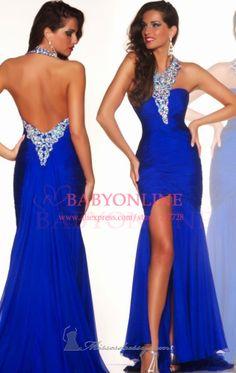 2014 New Arrival Robe De Soiree Halter Royal Blue Side Slit Beads Floor Length Open Back Prom Gowns Dresses Long $139.00