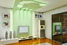 false ceiling lights for living room: living room with ceiling green light