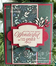 Tidings and Trimmings Stampin' Up! Stampin With diane Evans Christmas Card Sayings, Homemade Christmas Cards, Stampin Up Christmas, Christmas Cards To Make, Christmas In July, Christmas Tag, Christmas Greeting Cards, Homemade Cards, Christmas Projects